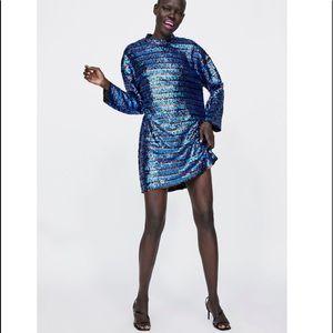 NWT Zara blue sequin striped mini dress